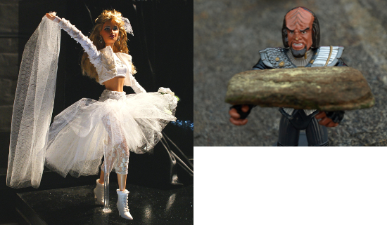 """a """"feminine"""" Barbie Doll contrasts with a """"masculine"""" Lieutenant Worf action figure"""