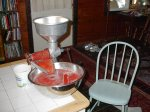 "we pureed tomatoes using an old hand-crank ""squeezer"""